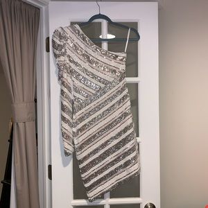 Silver Striped Sequin One-Shoulder Bodycon Dress